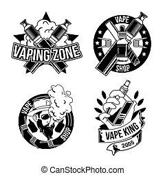 logos, kentekens, ouderwetse , etiketten, vape's, emblems