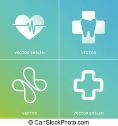 logos, komplet, abstrakcyjny, -, emblematy, wektor, pojęcia, medycyna, alternatywa