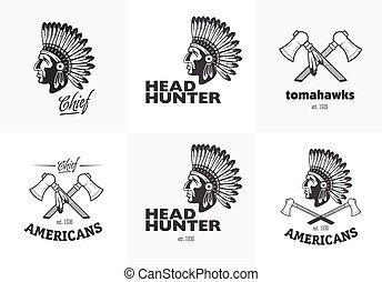 logos, komplet, etykiety, amerykański indianin, symbole, emblematy