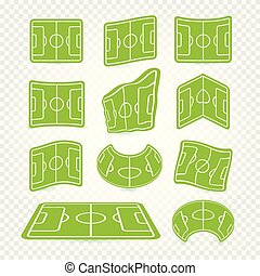 logos, marquer, football, cours jeu, elements., toile, ensemble, collection, icônes, champ football, jeu, vecteur, vert, stade, graphiques, pelouse, herbe, vide, illustration.