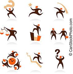 logos, mensen, abstract, -, verzameling, 8