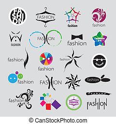 logos, mode, accessoirs, sammlung, vektor, kleidung