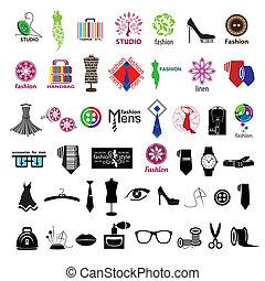 logos, mode, reihe, accessoirs, vektor, kleidung