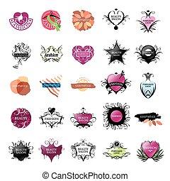 logos, mode, skønhed, samling, vektor, størst