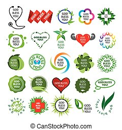logos, natürlich, sammlung, vektor, gesundheit, größten
