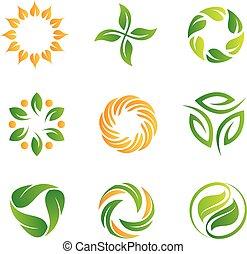 logos, natura, cappio, sagoma, icone
