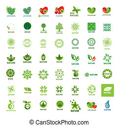logos, natura, eco, collezione, vettore, più grande