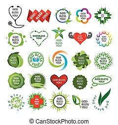 logos, naturale, collezione, vettore, salute, più grande
