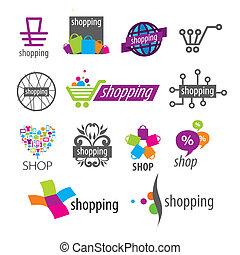 logos, negozi, collezione, sconti, vettore, shopping
