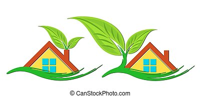 Logos of eco friendly cottages.