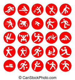 logos of sports, olympics games,red on white background