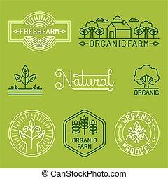 logos, organisch, boerderij, vector, lijn, landbouw