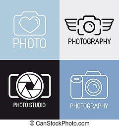 logos, photographie, vecteur, ensemble