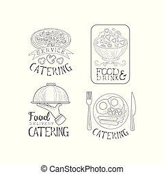 logos, plats, service., nourriture, texte, companies., restauration, emblèmes, vecteur, délicieux, main, monochrome, calligraphic, plateau