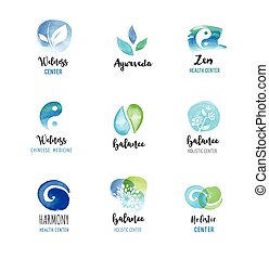 logos, pojęcie, wellness, zen, -, akwarela, wektor, ikony, yoga, medycyna, alternatywa, rozmyślanie