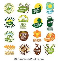 logos, prodotto, naturale, collezione, vettore, più grande
