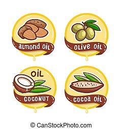 logos, produit, ensemble, naturel, huile, vecteur, emblème, graine