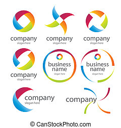logos, résumé, rond, coloré