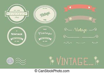 logos, reihe, vektor, weinlese, doodles, banner