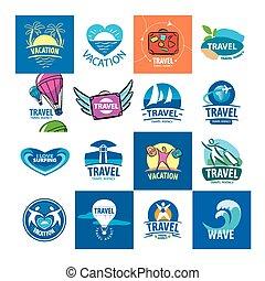 logos, reizen, verzameling, vector, groot, toerisme