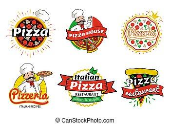 logos, restaurant, illustration, vecteur, pizza, italien
