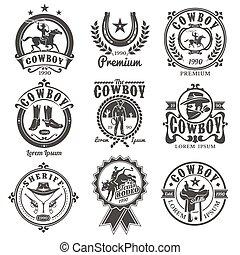 logos, rodéo, vecteur, ensemble