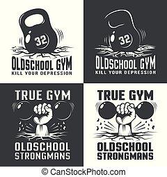 logos, sala gimnastyczna, old-school