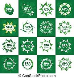 logos, salon, collection, vecteur, plus grand, spa