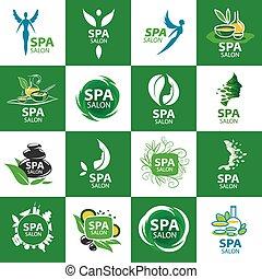logos, salon, ensemble, grand, vecteur, spa