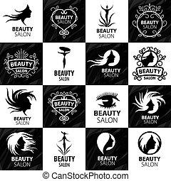 logos, salon, sæt, skønhed, store, vektor