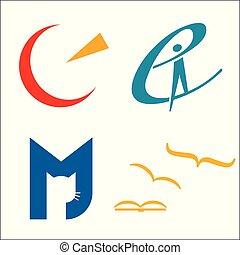 logos, satellite, books., chat volant, quatre, education