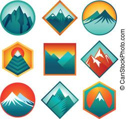 logos, satz, berge, abstrakt, -, vektor