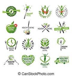 logos, satz, essende, gesunde, groß, vektor