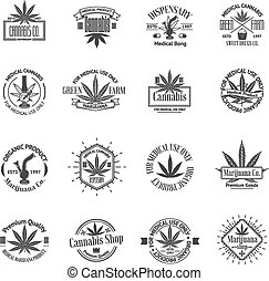 logos, satz, logos., medizin, etiketten, marihuana, cannabis, abzeichen