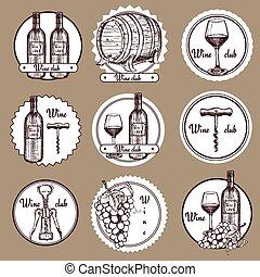 logos, schets, set, wijntje