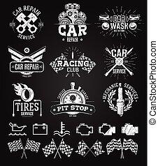logos, service, voiture, étiquettes, craie, emblèmes, dessin