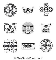 logos, set, aereo, club, volare, etichette, fuco, vettore, tesserati magnetici