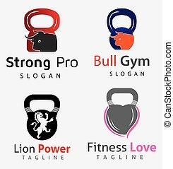 logos, set, animali, palestra, 1, idoneità