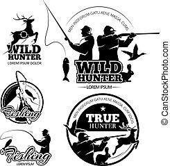 logos, set, caccia, vendemmia, etichette, emblemi, vettore, pesca