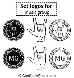 logos set for a musical group in the form of printing with a goat