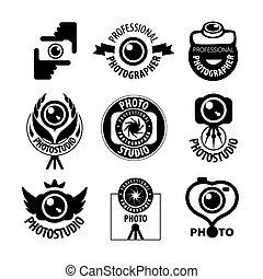logos, set, grande, vettore, fotografo, professionale