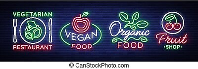 logos, set, groentes, meldingsbord, vegetariër, neon, thema, illustratie, voedingsmiddelen, gezonde , helder, vector, vegan, fruits., verzameling, lichtgevend, orginal, tekens & borden, style., reclame