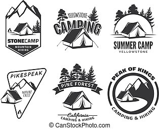 logos, set, kamperen, badges., ouderwetse , equipment., tentje, buiten, bos, vector., emblems, bergen., of, avontuur