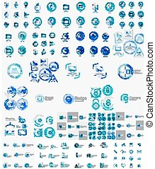logos, set, lineair, mega, postzegel, vector