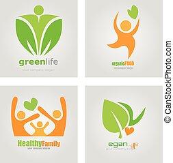 logos, set, organisch, familie voedsel, vegetariër, vegan, gezonde , vector, diet., label., levensstijl, detoxicatie, logo.