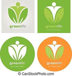 logos, set, organisch voedsel, vegetariër, vegan, gezonde levensstijl, vector, groene, diet., label., life., detoxicatie, logo.