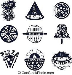 logos, set, ouderwetse , etiketten, emblems, vector, pizzeria