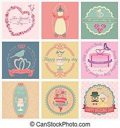 logos, set, ouderwetse , trouwfeest