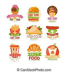 logos, set, pizza, croissant, ijs, voedingsmiddelen, worst, vasten, hamburger, bakken, vector, franse , illustraties, broodje, room, cupcake, puntzak