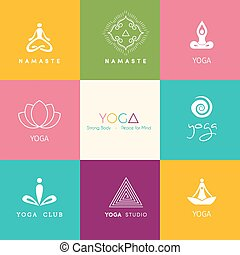logos, set, yoga studio